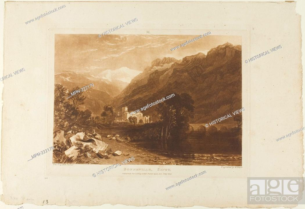 Stock Photo: Bonneville, plate 64 from Liber Studiorum - published January 1, 1816 - Joseph Mallord William Turner (English, 1775-1851) Engraved by H.
