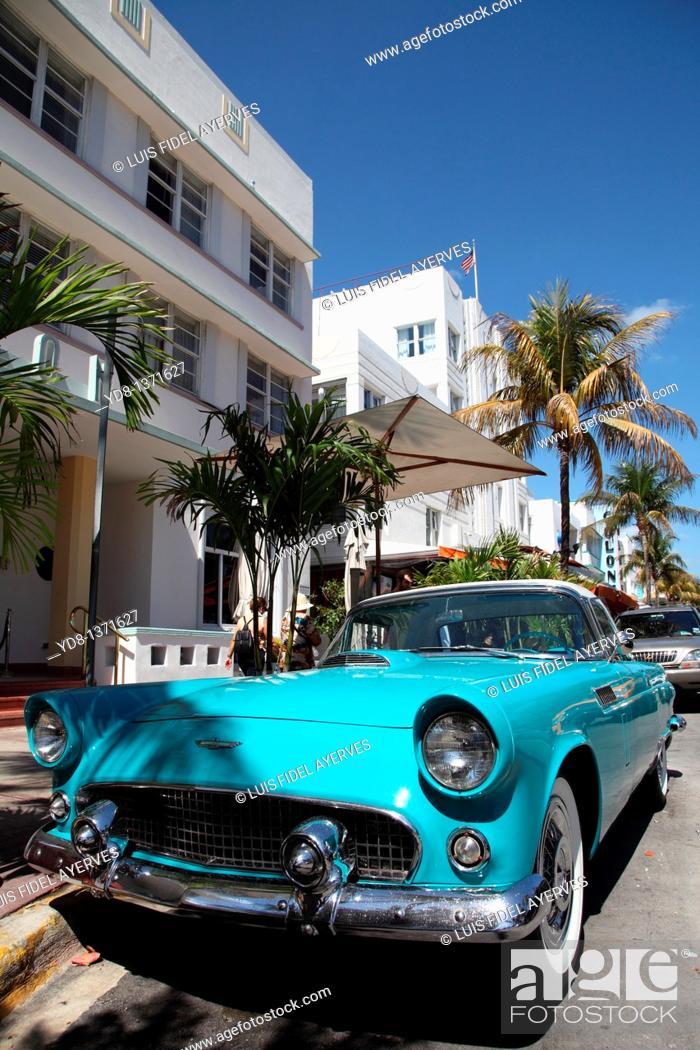 Stock Photo: Old car on Ocean Drive, Miami Beach, Florida, USA.