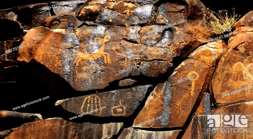 Stock Photo: Indian petroglyphs appear in the Coso Range of Southern California, USA.
