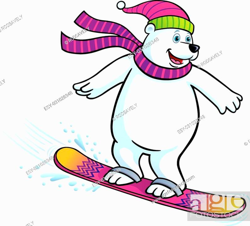 Cartoon Illustration Of A Polar Bear Snowboarding While Wearing A Knit Scarf And Knit Hat Stock Vector Vector And Low Budget Royalty Free Image Pic Esy 031028348 Agefotostock