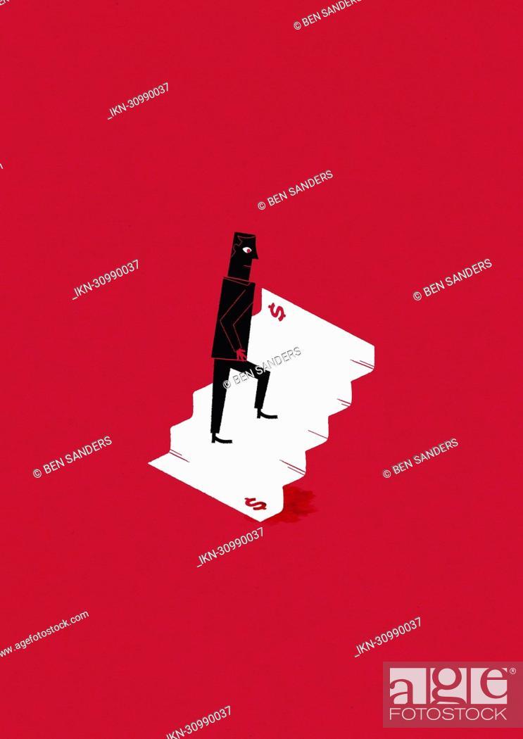 Imagen: Man walking up dollar stairs.