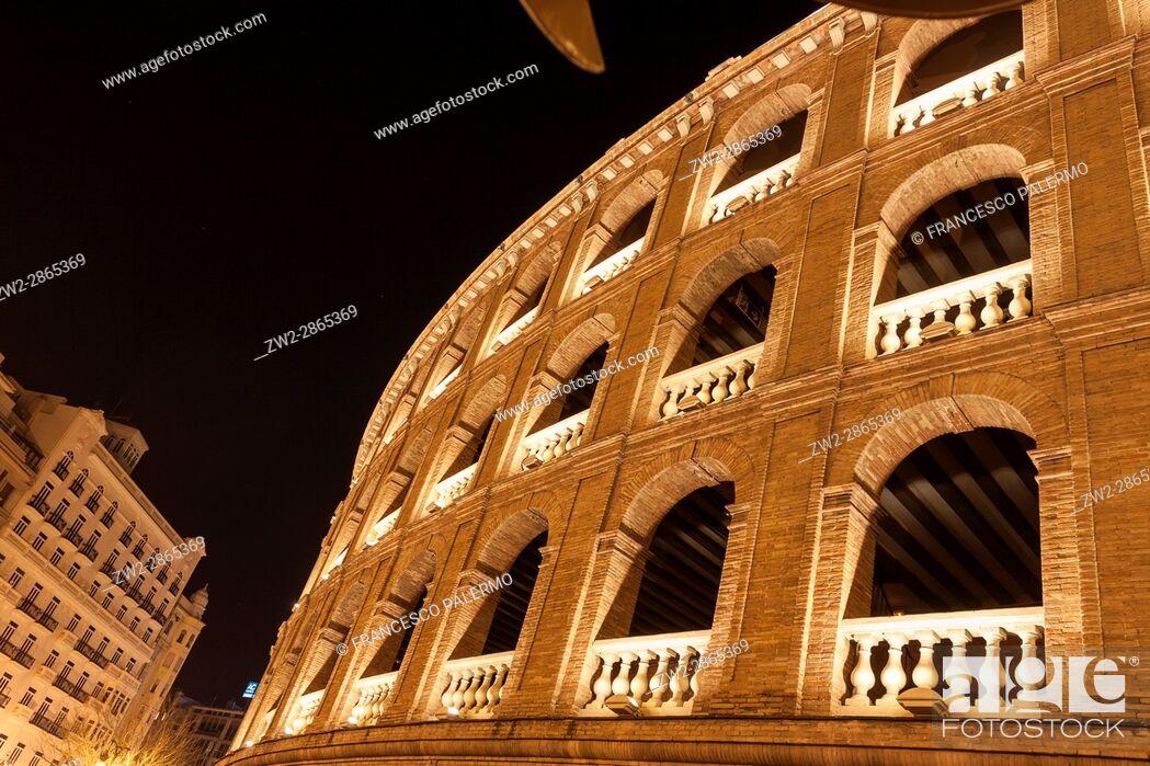 Stock Photo: Bullring at night. Valencia, Spain.