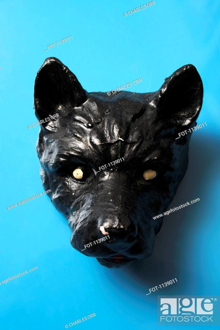 Stock Photo: A ceramic head of a dog.