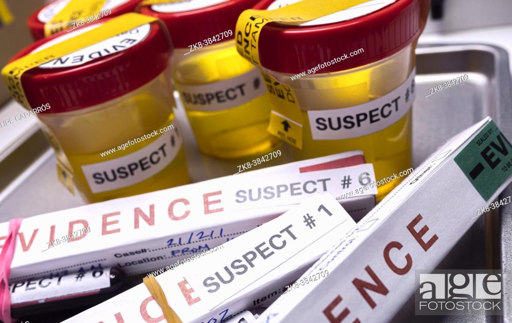 Stock Photo: Various analyses of urine, saliva and blood of homicide suspects in crime lab, conceptual image.