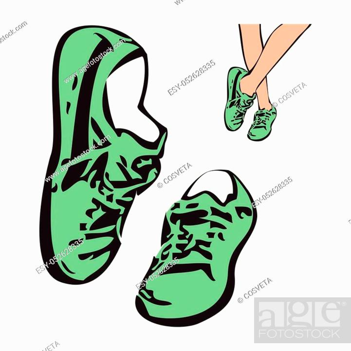 Stock Vector: Sneakers shoes vector sketch drawing illustration. Sneakers isolated background vector.