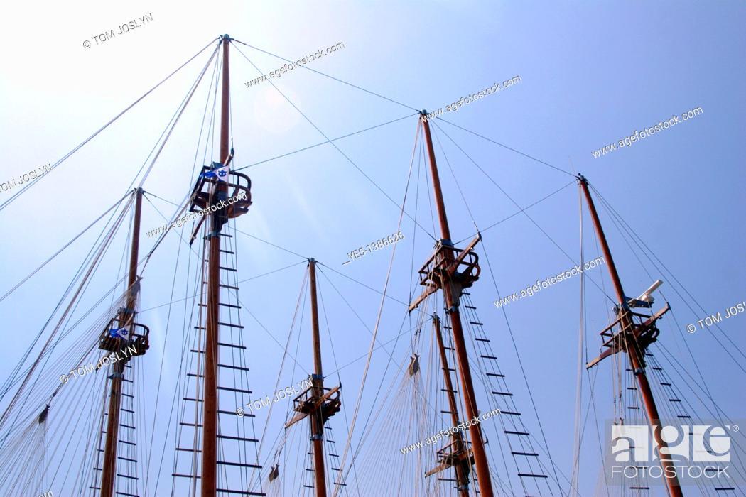 Stock Photo: Rigging of a sailing ship, Marmaris, Turkey.