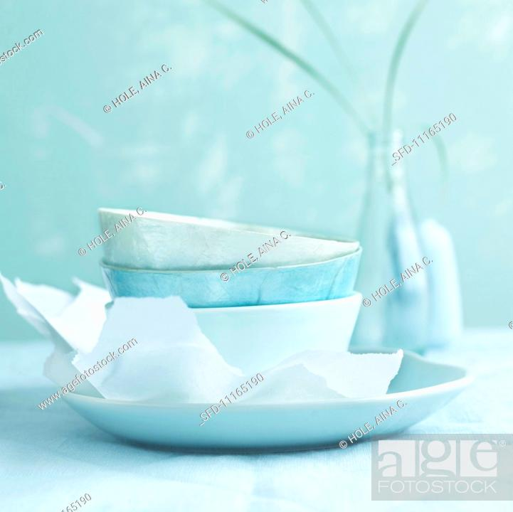 Stock Photo: Plate and bowls in shades of blue.