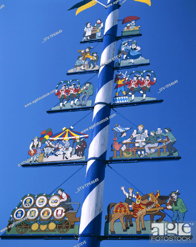 Photo de stock: Bavaria, Germany, Europe, Holiday, Landmark, Maypole, Munich, The, Tourism, Travel, Vacation, Viktualienmarkt,.