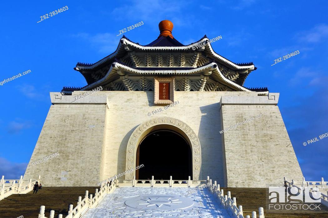 Stock Photo: The National Chiang Kai Shek Memorial Hall in Taipei, Taiwan.