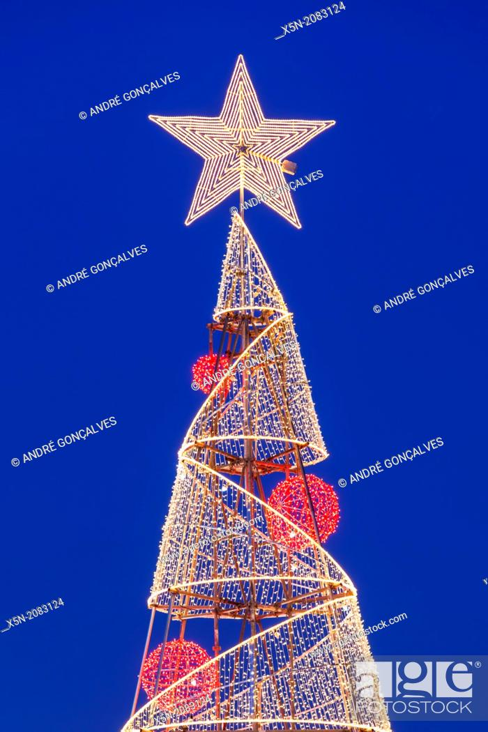 Stock Photo: Christmas Tree at Praca do Comercio , Lisbon, Portugal, Europe.