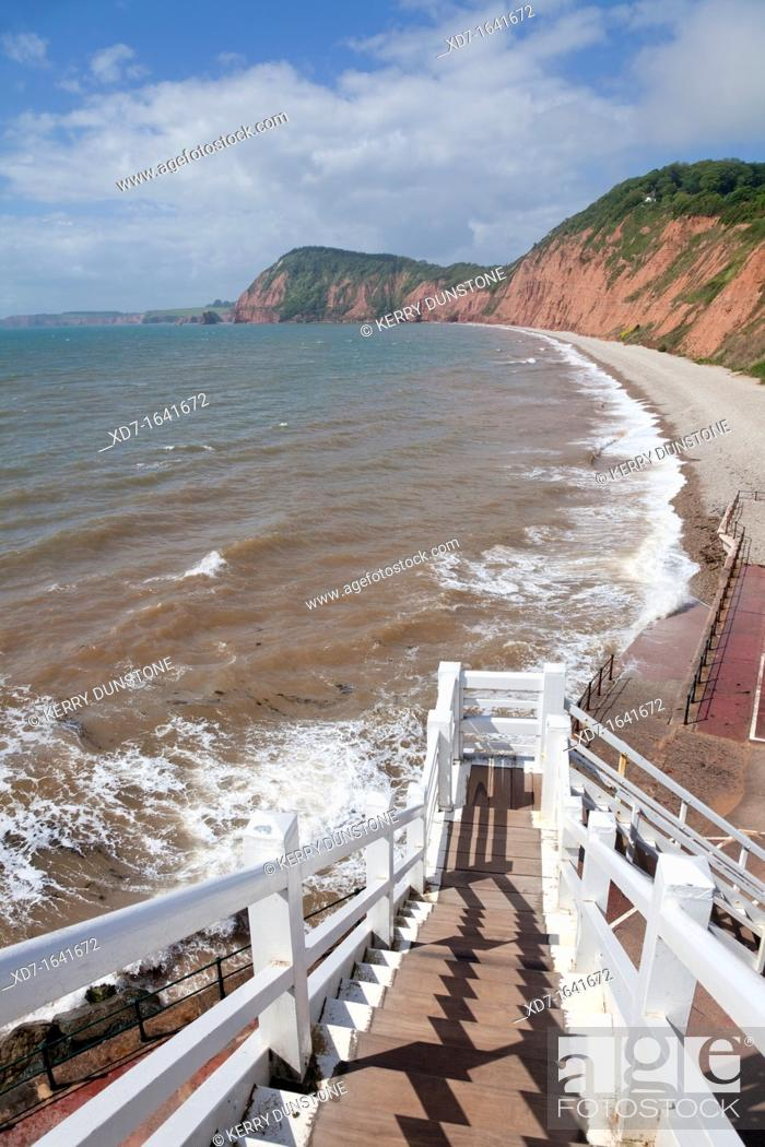 Stock Photo: England Devon Sidmouth Western Beach from Jacob's Ladder.