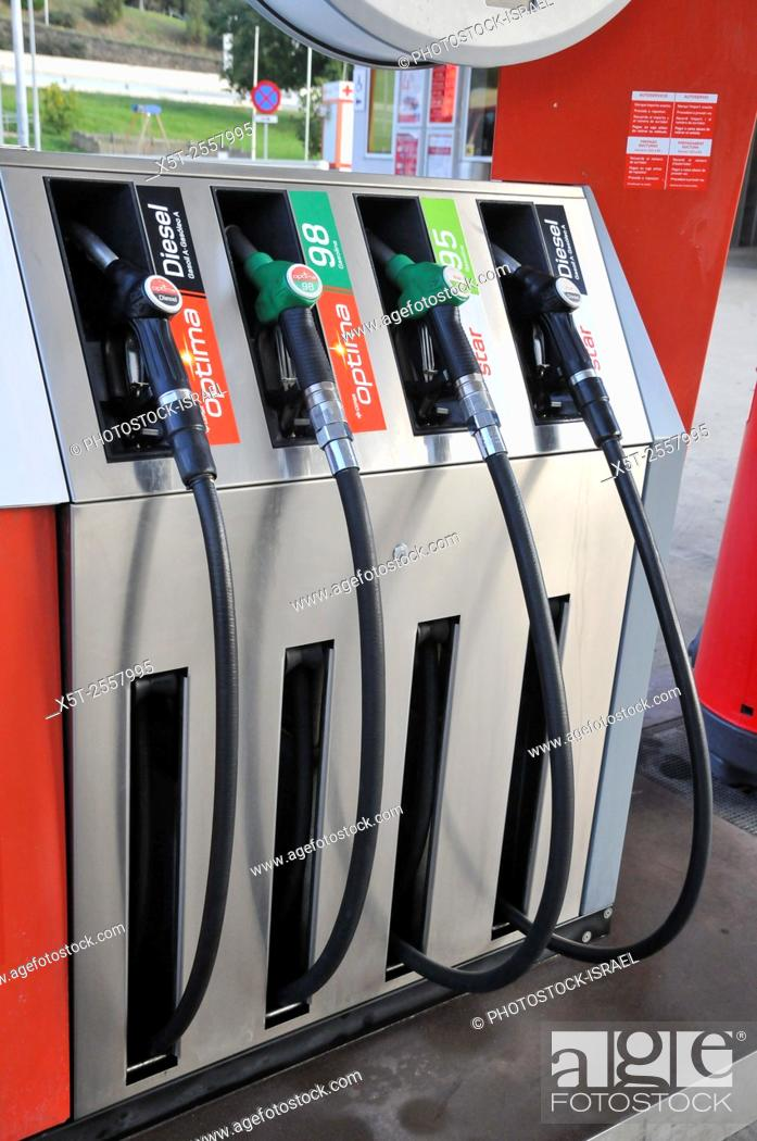 Stock Photo: Petrol station pumps. Photographed in Catalonia, Spain.