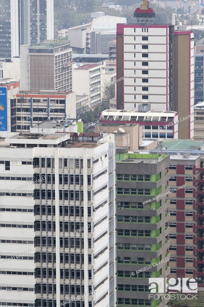 Stock Photo: Africa. Kenya. Nairobi, Modern buildings downtown Nairobi.