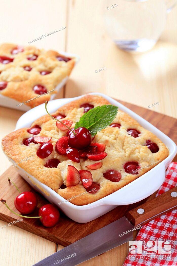 Stock Photo: Cherry sponge cake.