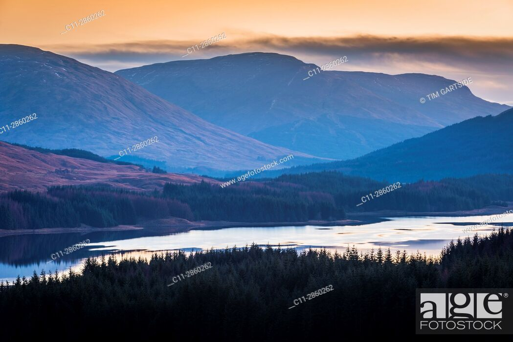 Stock Photo: Loch Tulla, river orchy, glenn orchy, Argyll and Bute, Scotland, uk.