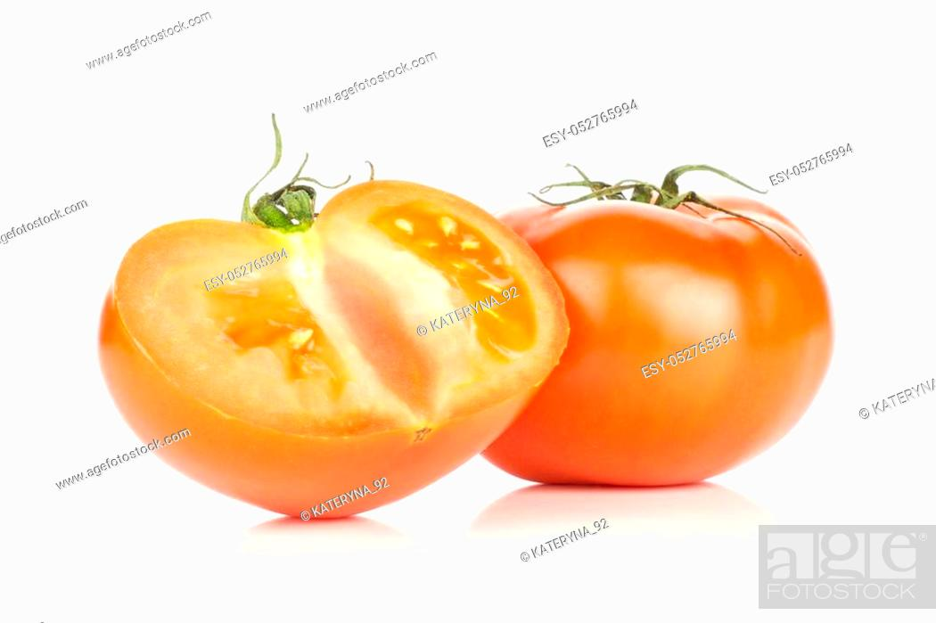 Photo de stock: One red tomato and one sliced section half isolated on white background.