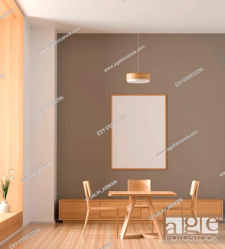 Stock Photo: Mock up poster frame in spacious modern dining room with wooden chairs and table. Minimalist dining room design. 3D illustration.