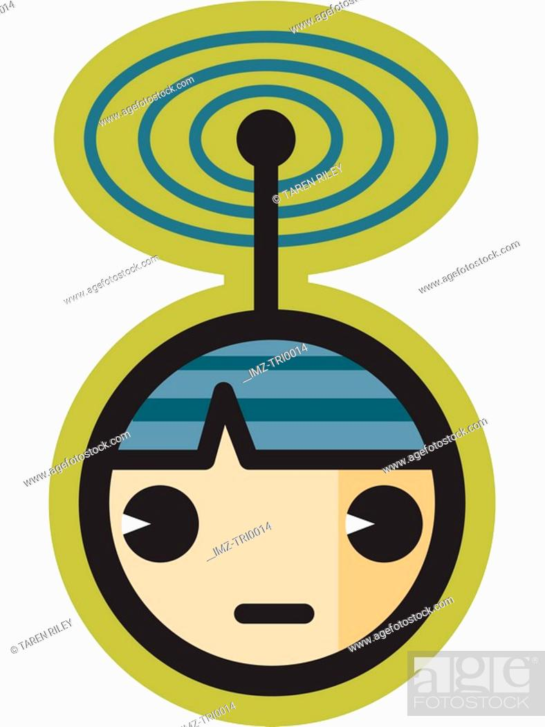 Stock Photo: Person with signal on their head.