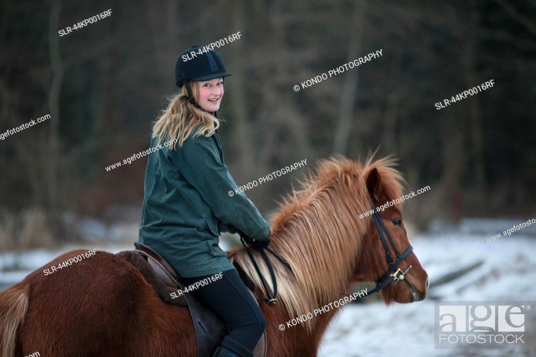 Woman Riding Horse In Snow Stock Photo Picture And Royalty Free Image Pic Slr 44kp0016rf Age Fotostock