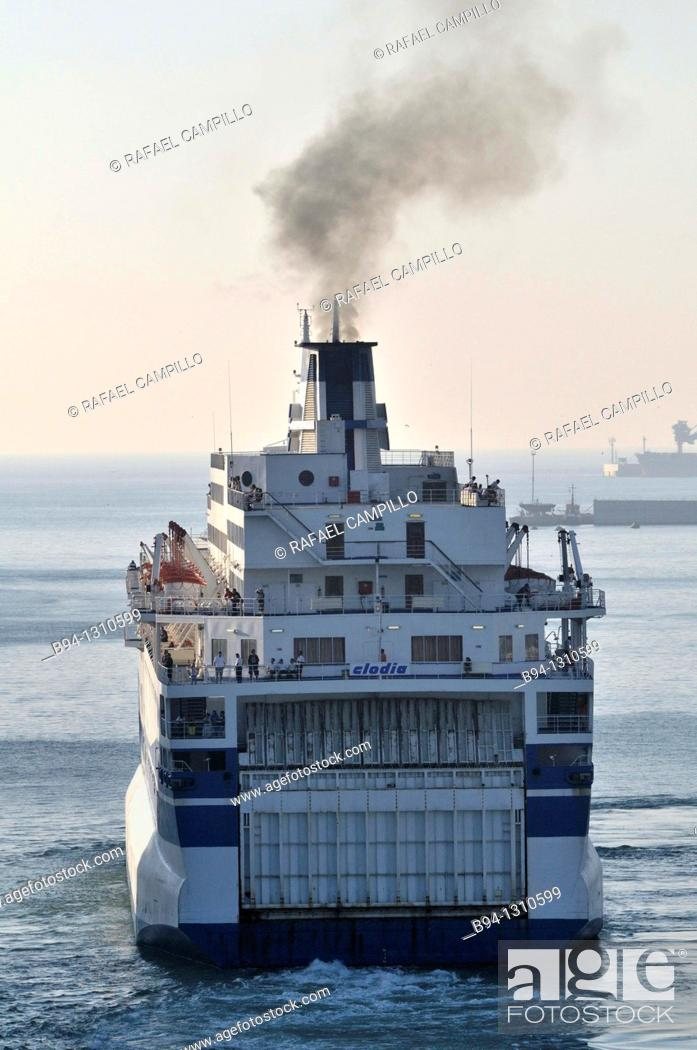 Stock Photo: Ferry boat, Mediterranean Sea.