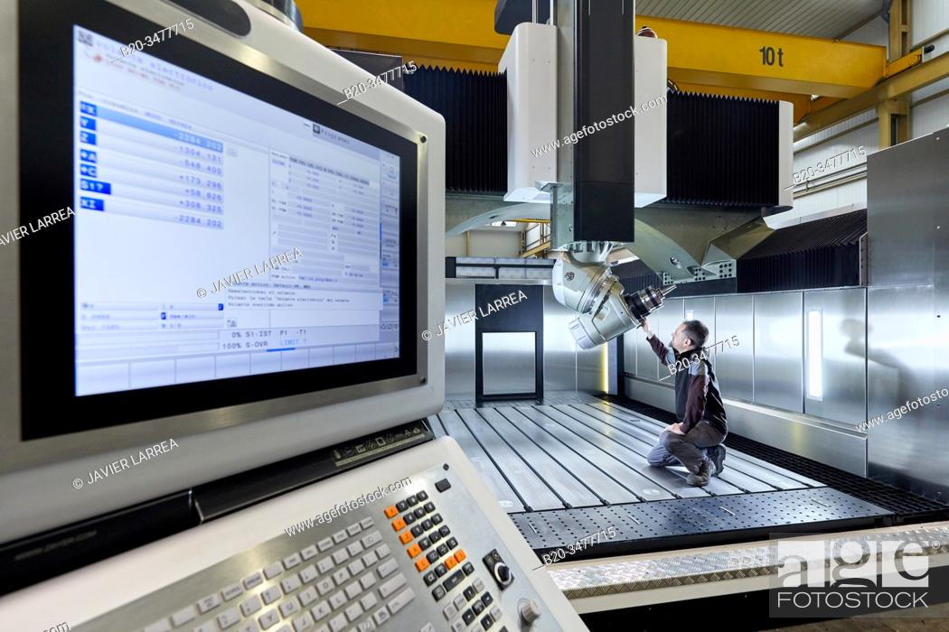 Stock Photo: Machining Centre, CNC Milling. Machine tool, Metal industry, Mechanical workshop,.