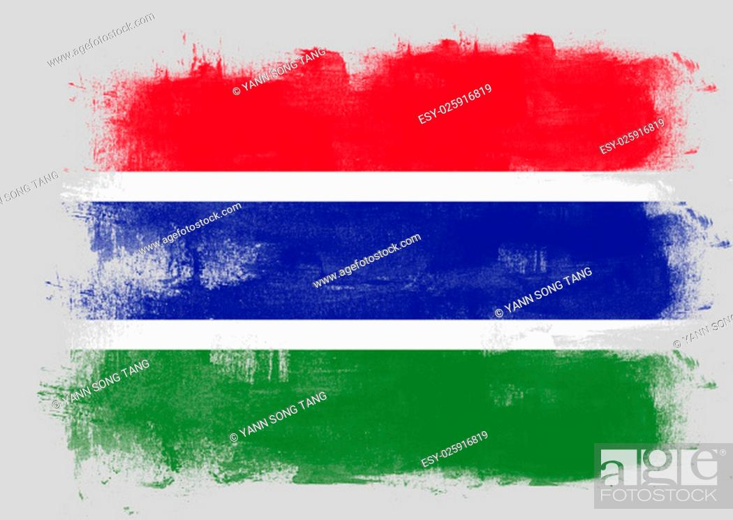 Stock Photo: Flag of Gambia painted with brush on solid background,.