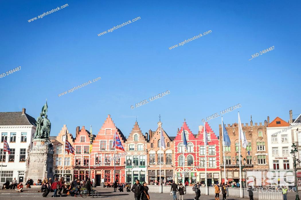 Stock Photo: Grand place, Main square, Bruges, Belgium.