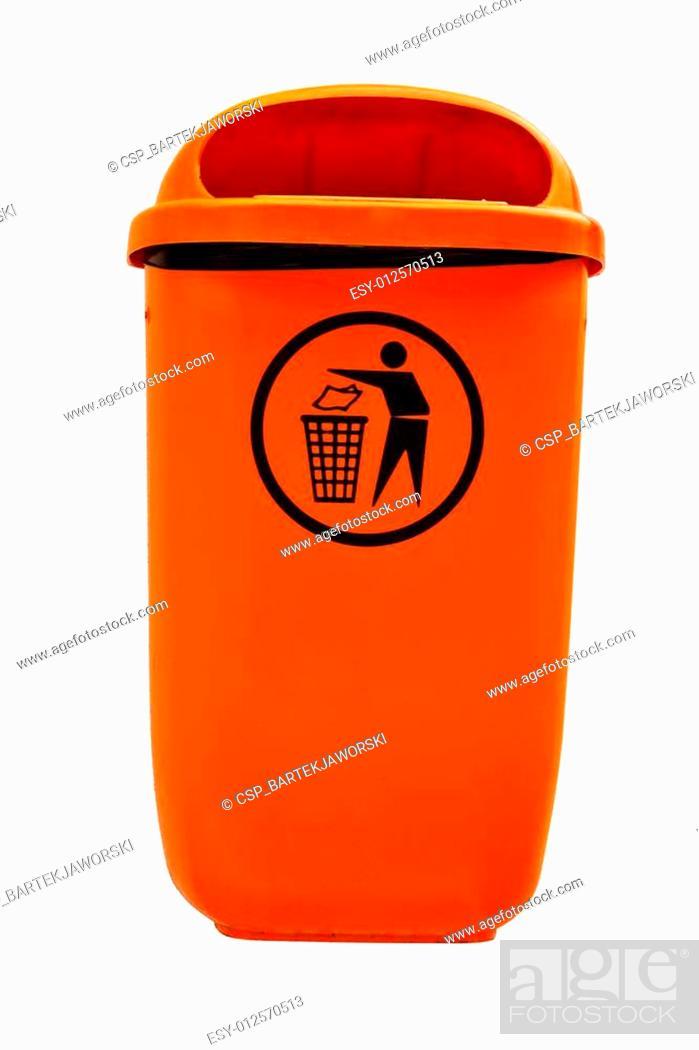 Stock Photo: Orange plastic dust bin isolated over white background.