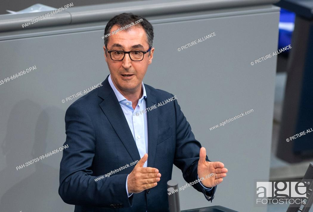 Stock Photo: 03 July 2020, Berlin: Cem Özdemir (Bündnis 90/Die Grünen) speaks in the plenary session of the German Bundestag. The main topics of the 171st session of the.