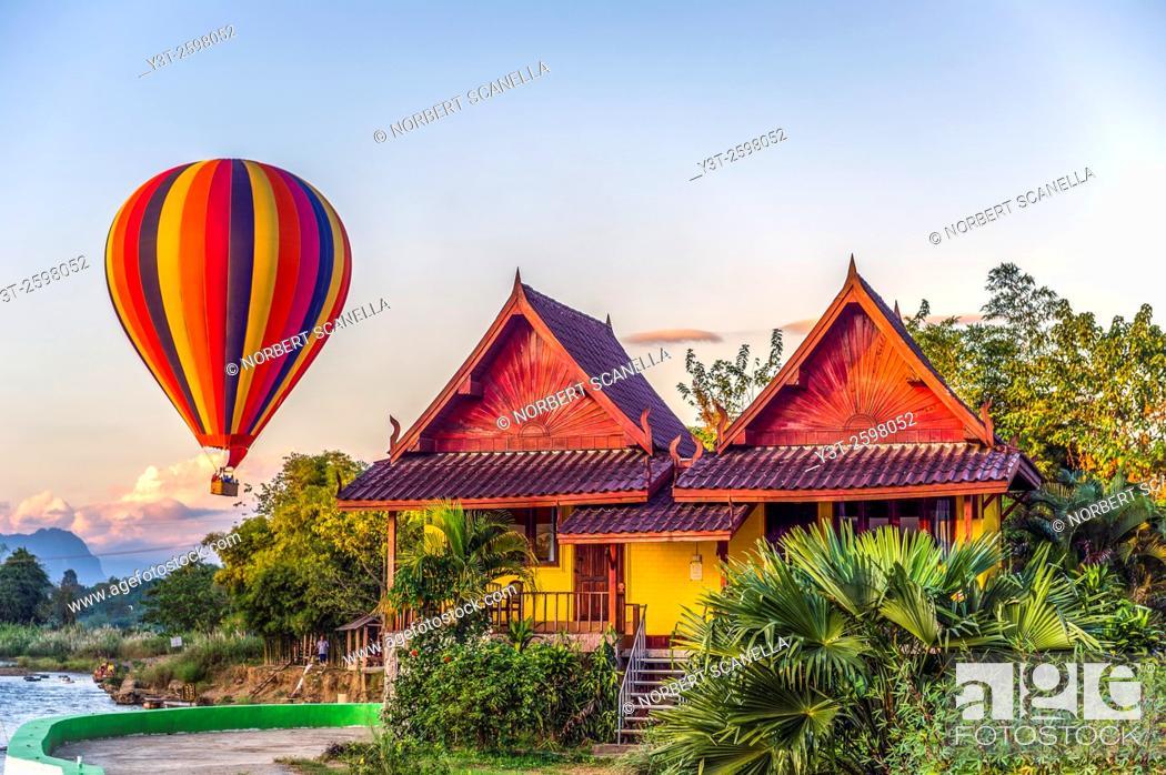 Stock Photo: Asia. South-East Asia. Laos. Province of Vang Vieng. Vang Vieng. Hot Air Balloon.