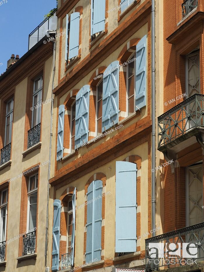 Stock Photo: shuttered windows, Toulouse, Haute-Garonne Department, Occitanie, France.