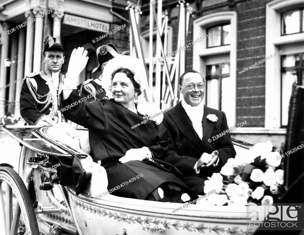 Stock Photo: Apr. 30, 1962 - Amsterdam, Holland, Netherlands - QUEEN JULIANA (1909 - 2004) was Queen regnant of the Kingdom of the Netherlands she was married to PRINCE.