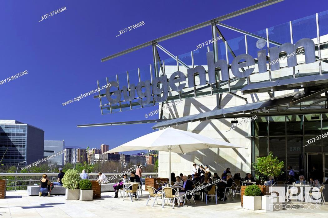 Stock Photo: Europe, Spain, Basque Country, Bilbao, Guggenheim Museum Bilbao with Entrance Café.