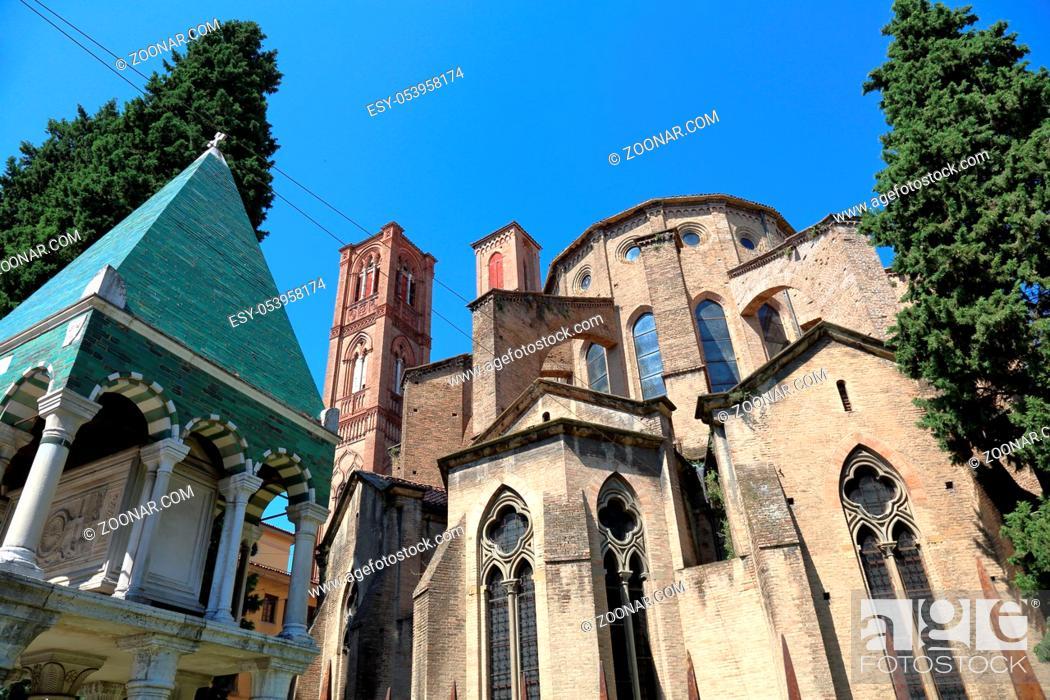 Stock Photo: BOLOGNA, ITALY - JULY 20, 2018: Tomb of the glossary near the Basilica of San Francesco.