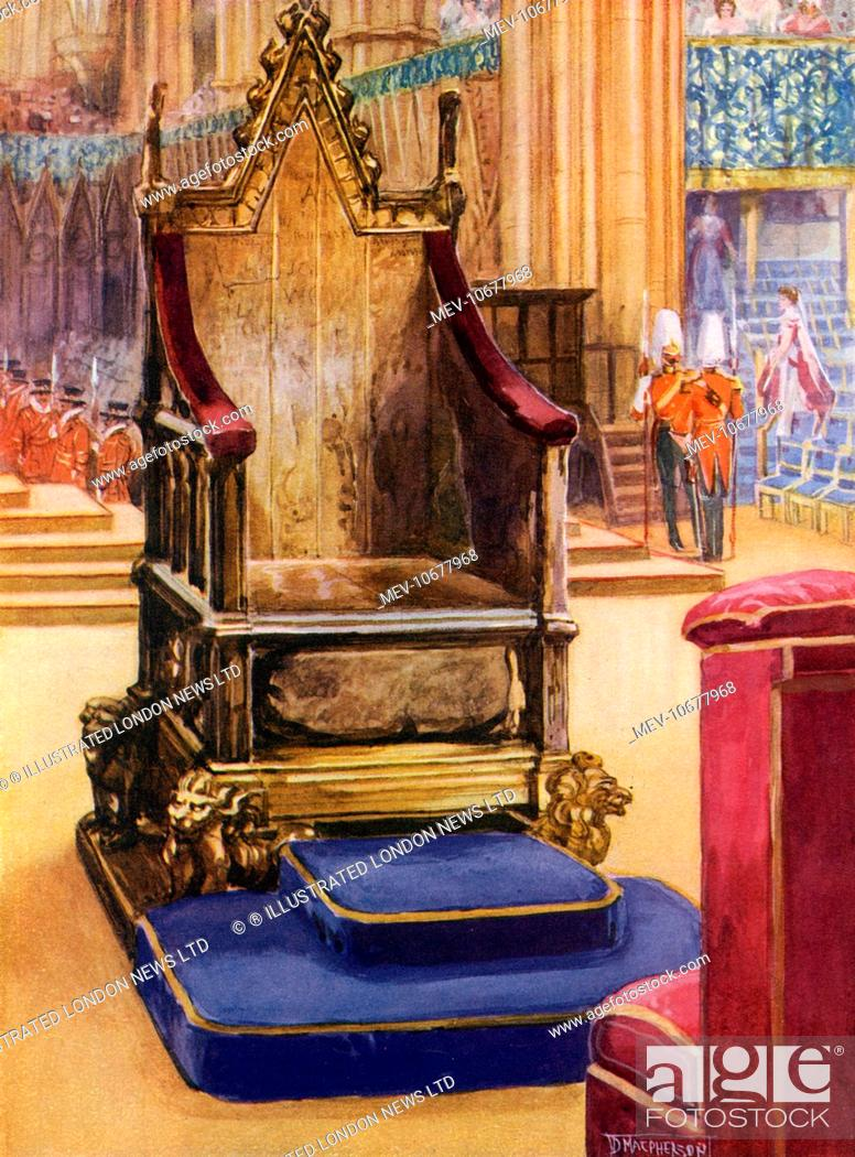 Stock Photo   The Coronation Chair, Also Known As King Edwardu0027s Chair, In  Westminster Abbey, London, Shortly Before The Coronation Of King George V ..