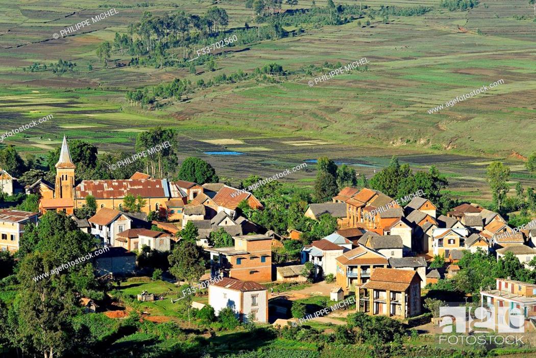 Stock Photo: Madagascar. Traditional village on Hill around Antsirabe.
