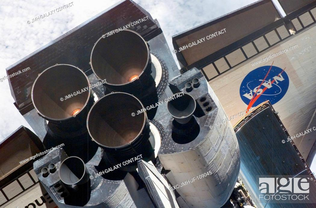 Stock Photo: A close-up view of Space Shuttle Endeavour's tail section was provided by Expedition 16 crewmembers on the International Space Station (ISS).