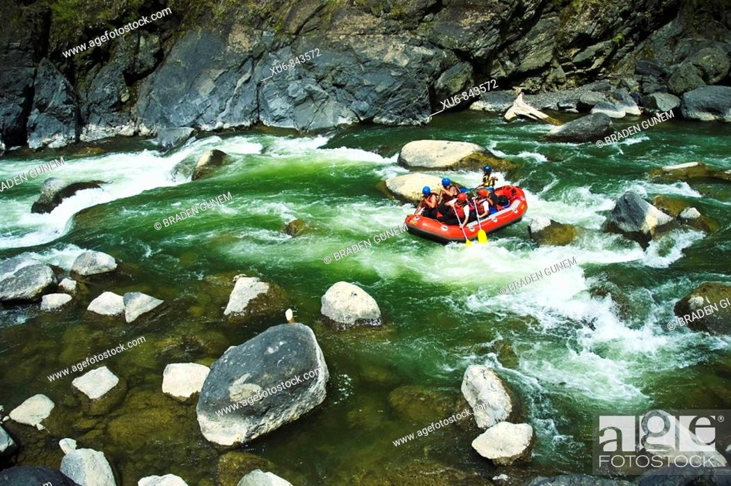 Stock Photo: Rafting the Mohaka river North Island, New Zealand.