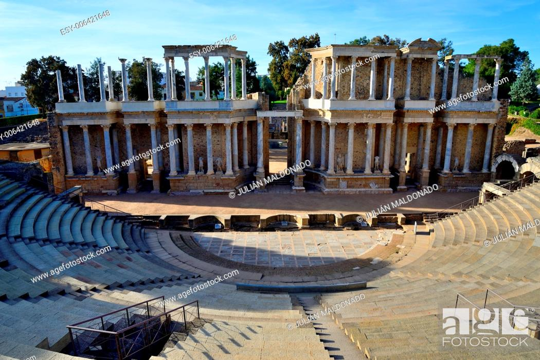 Stock Photo: Roman theater in Mérida, Spain.