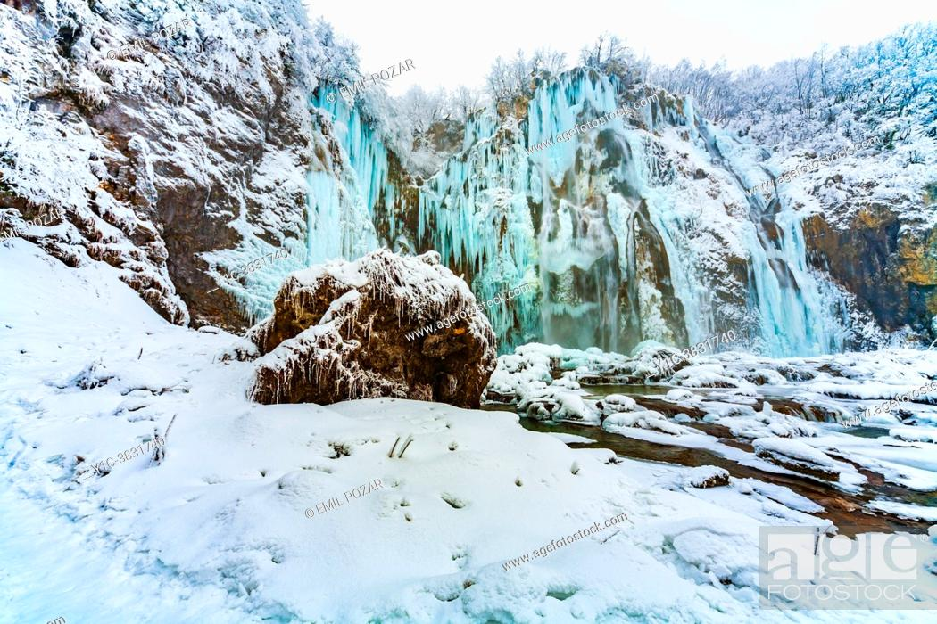 Stock Photo: Winter season Plitvice lakes Big waterfall (Veliki slap) Croatia Europe.