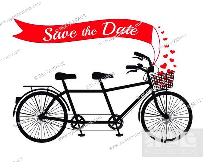 Stock Photo: Save the date card, wedding tandem bicycle.