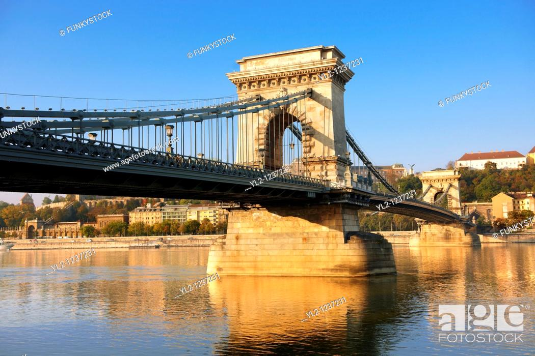Stock Photo: Szecheni Lanchid  Chain Bridge   Suspension bridge over the Danube betwen Buda & Pest  Budapest Hungary.