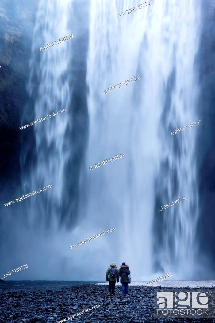 Stock Photo: One of the most powerful waterfalls in Iceland, a classic visiting point for tourists.