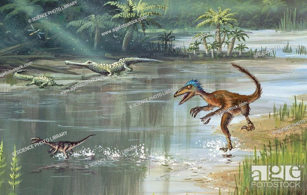 Stock Photo: Jurassic life. Computer artwork of a forest with prehistoric creatures that existed during the Jurassic Period 200 to 145 million years ago in what is now North.