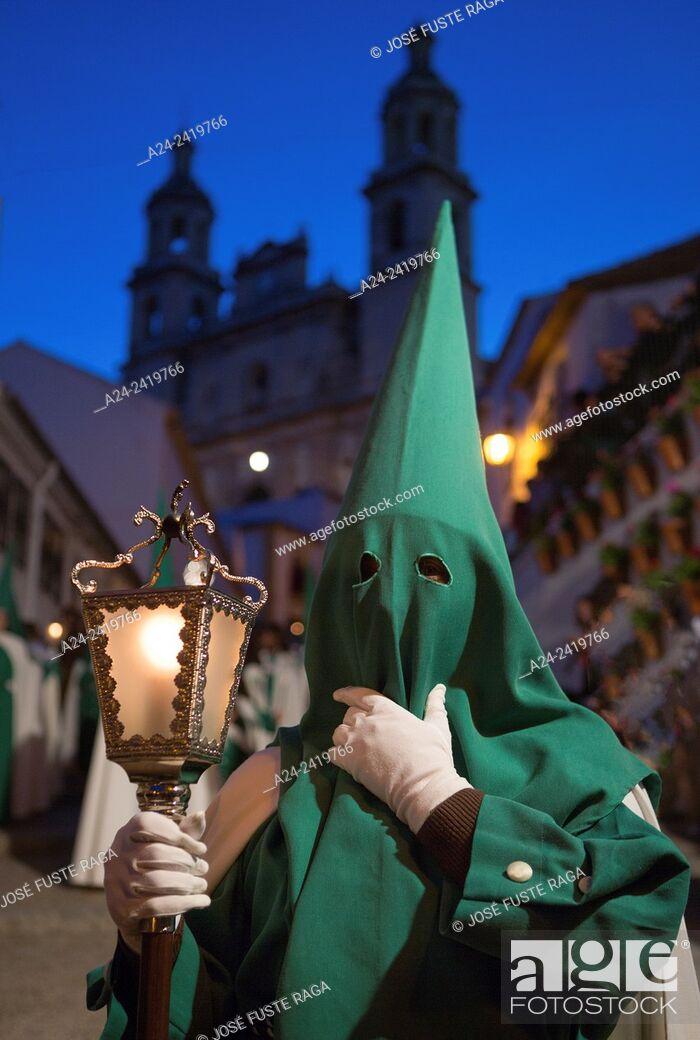 Stock Photo: Spain , Andalucia Region, Cadiz Province, Olvera City, Holly Thursday Parade.