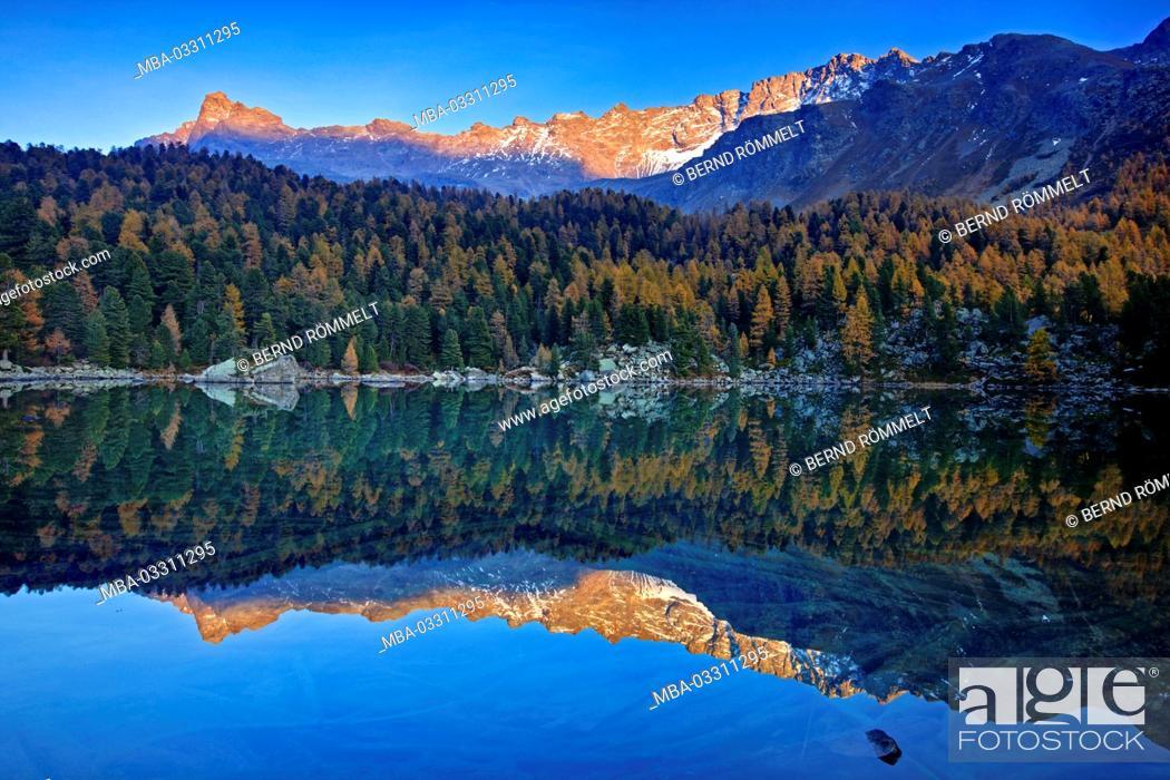 Stock Photo: Switzerland, Canton of Grisons, the Engadine, Oberengadin, Lago da Saoseo,.