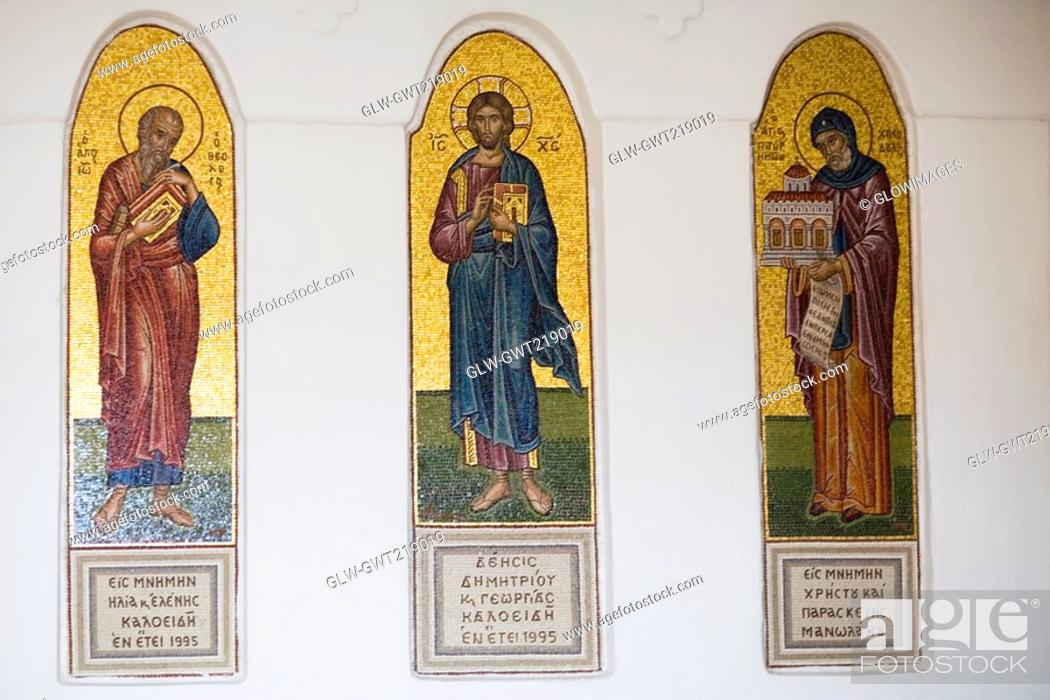Stock Photo: Murals on the wall of a church, Monastery of St  John the Divine, Patmos, Dodecanese Islands, Greece.