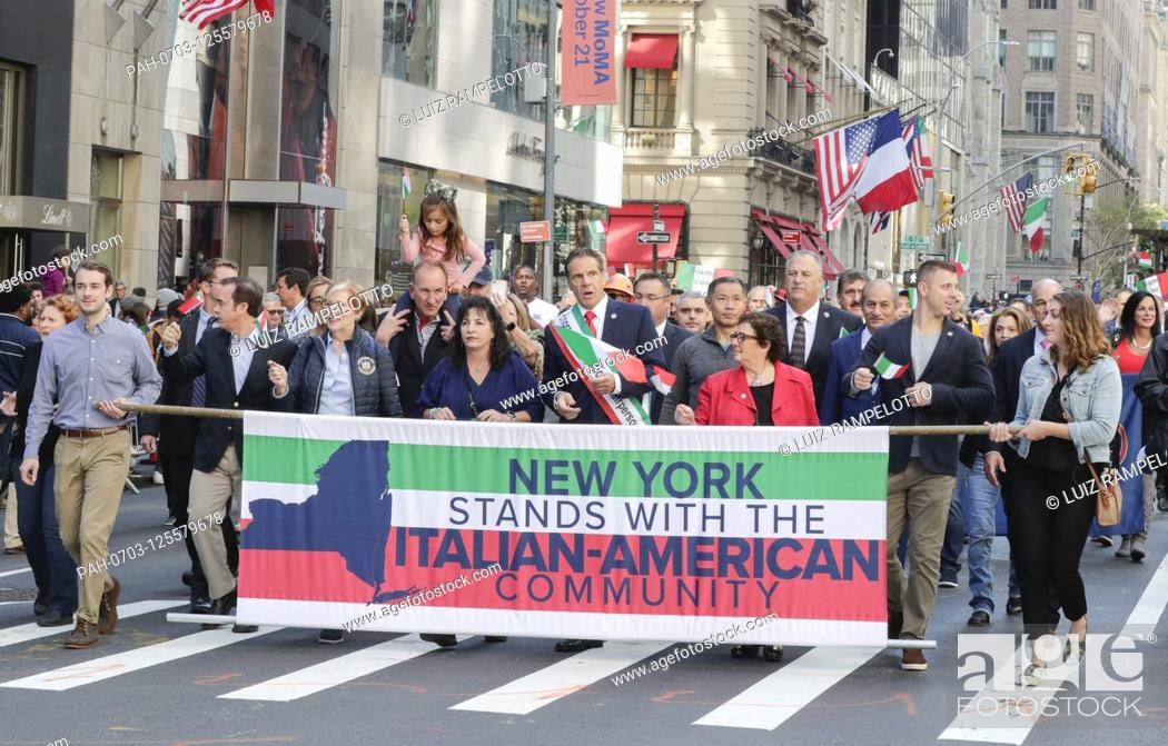 Stock Photo: Fifth Avenue, New York, USA, October 15, 2019 - Governor Mario Cuomo along with Thousands of Peoples Participated the 2019 Columbus Day Parade in New York City.