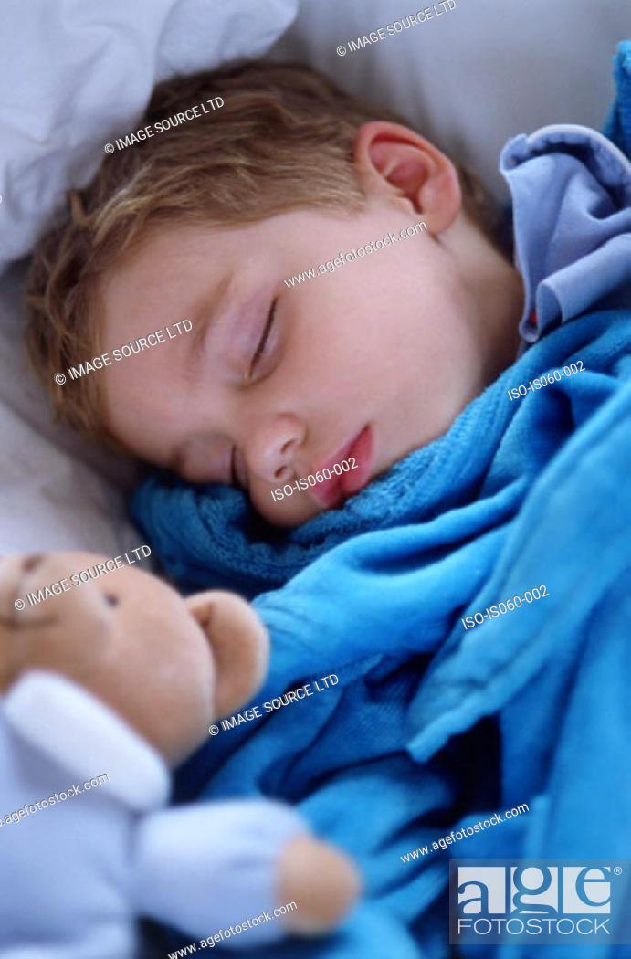 Stock Photo: Boy asleep.