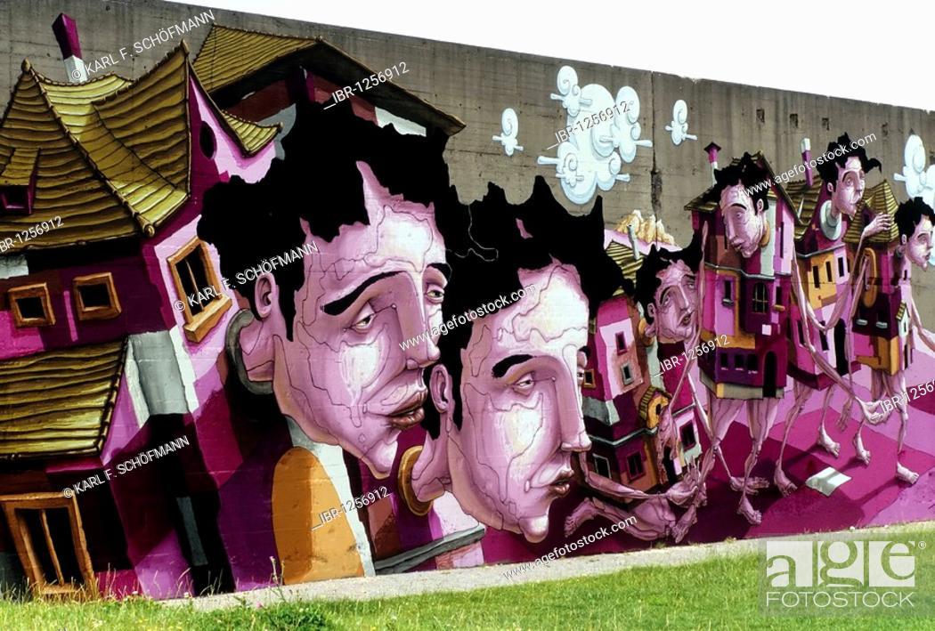 Stock Photo: House people, surrealistic vision by the Karlsruhe graffiti artist Christian Kraemer aka Dome, Rheinpark, Duisburg-Hochfeld, Ruhr Area, North Rhine-Westphalia.